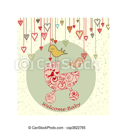 Baby Arrival Card with Birds and Stroller - csp3822765
