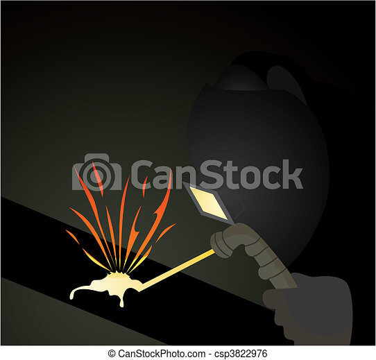 The welder carries out welding of pipes. A vector illustration - csp3822976