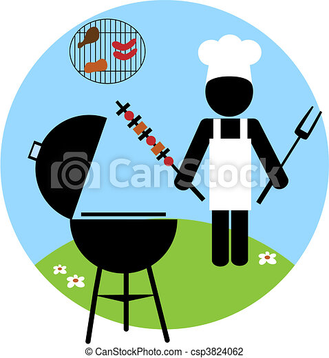 Illustration of backyard bbq scene - 2 - csp3824062