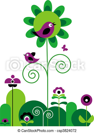 green and purple flowers with swirls with butterfly and birds - csp3824072