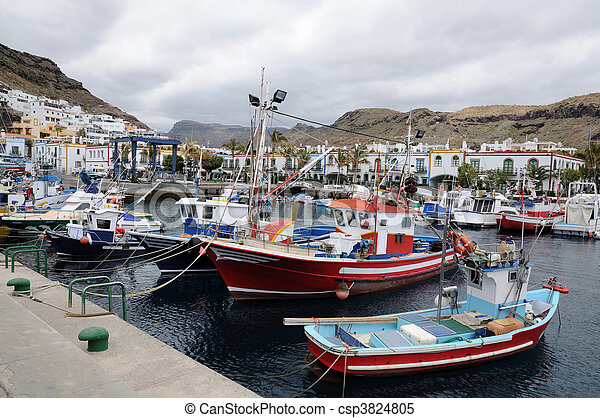 mogan, isla, de, canario, pesca, magnífico, barcos, puerto - csp3824805