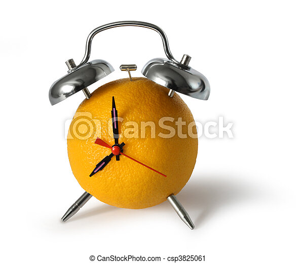 Fresh orange fruit alarm clock - csp3825061