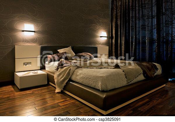 Clipart van Interieur, Luxe, slaapkamer - Luxe, slaapkamer, Interieur ...