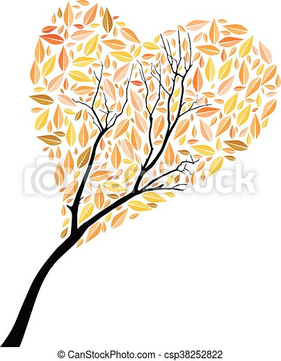 Beautiful autumn tree heart shape for your design - csp38252822