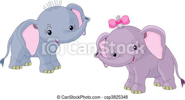 Vector de dos bebes elefantes dos lindo bebes - Fotos de elefantes bebes ...
