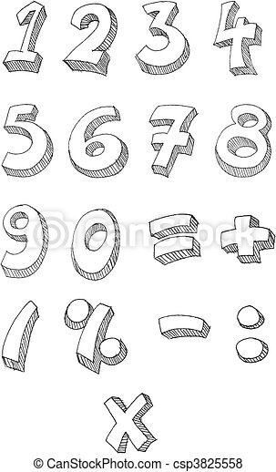 Numbers hand written - csp3825558