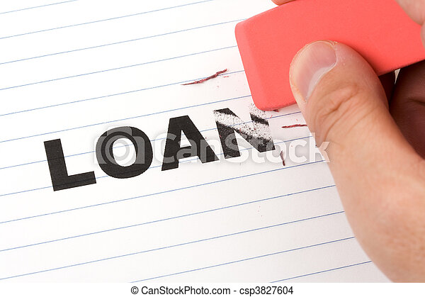 eraser and word loan - csp3827604