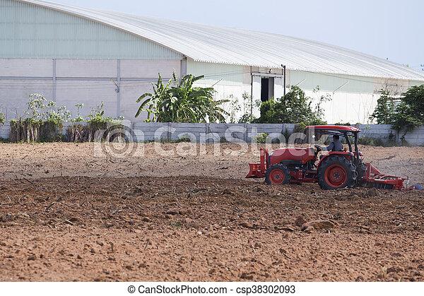agriculture tractor-landscape - csp38302093