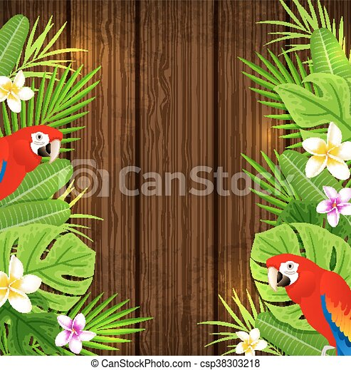 Green tropical leaves and red parrots - csp38303218