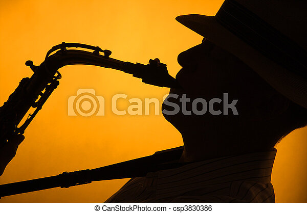 Silhouette of Sax Performer - csp3830386