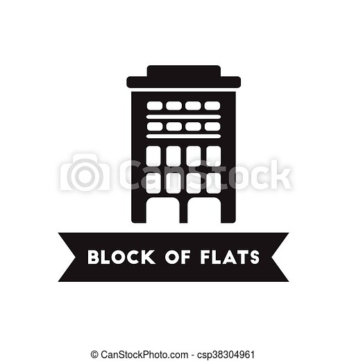 Clip Art Vector of flat icon in black and white style building