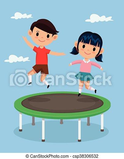 vektoren von trampolin springende kinder kinder springende auf csp38306532 suchen. Black Bedroom Furniture Sets. Home Design Ideas