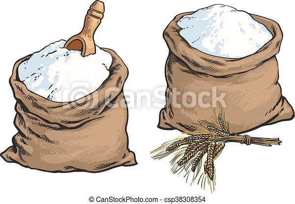 Clipart Vector of Wholemeal bread flour bags with wooden ...