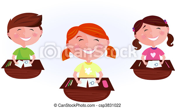 Cartoon kids in classroom - csp3831022