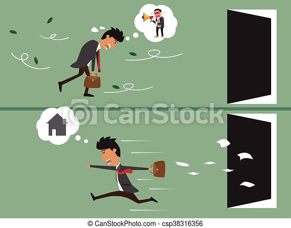 Cartoon business man very tired go to work and cartoon business happy go to home after work. vector illustration. - csp38316356