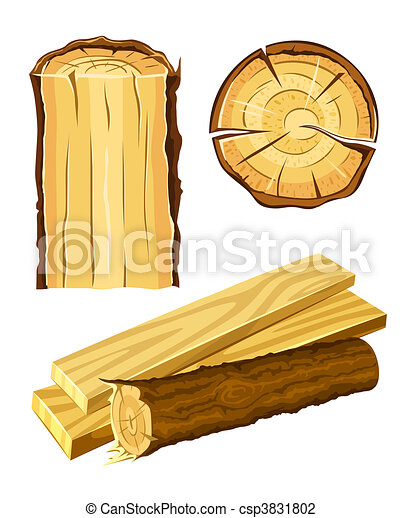 Vector Illustration of wooden material wood and board ...