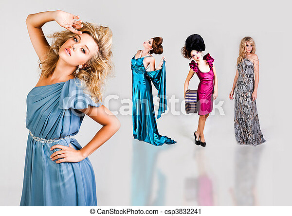Young Women Modeling Elegant Fashions - csp3832241