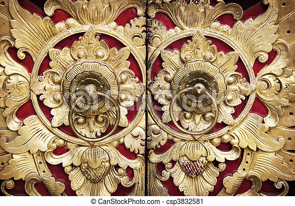 Wood Carving Door - csp3832581