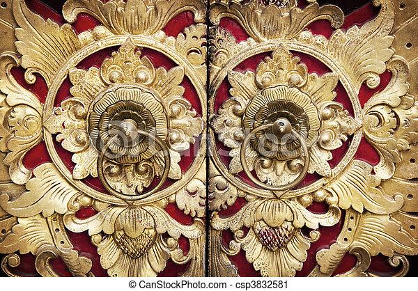 Wood Carving Door - csp3832581