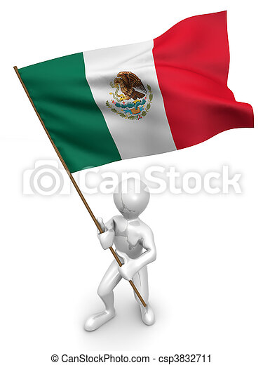 Men with flag. Mexico - csp3832711
