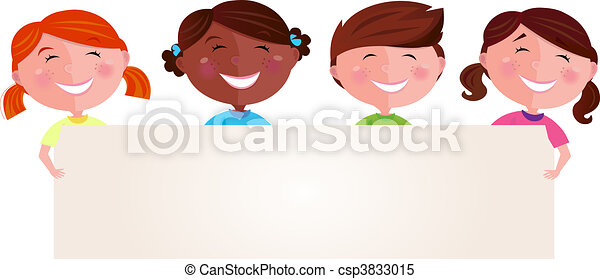 Multicultural children with banner - csp3833015