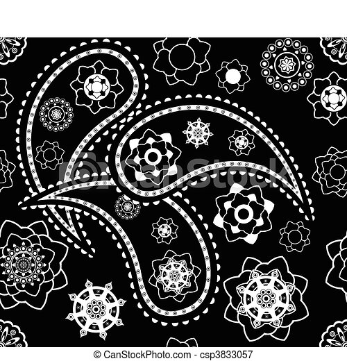 Retro seamless indian black-and-white paisley  vector pattern  - csp3833057