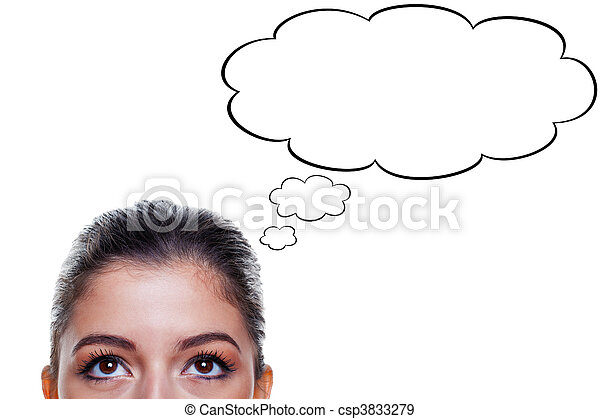 Woman with thought bubbles - csp3833279
