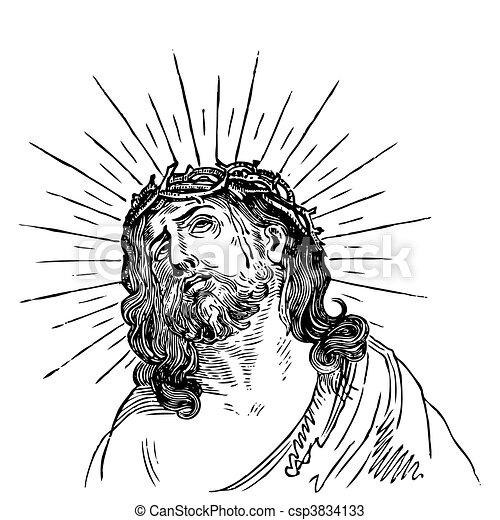 antique Jesus engraving (vector) - csp3834133