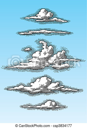 retro clouds set (vector) - csp3834177