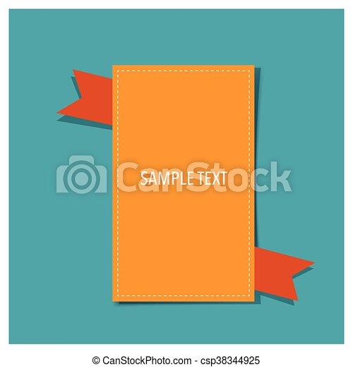 Banner with orange ribbon, Vector Illustration - csp38344925