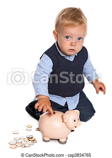 Toddler with piggy bank - csp3834765