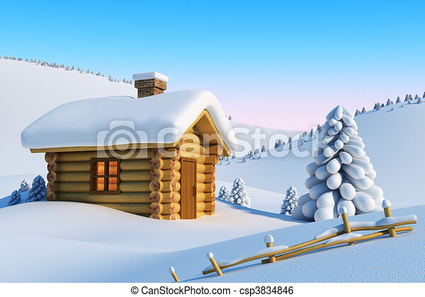 house in snow mountain - csp3834846