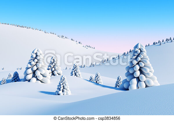 winter landscape with fir trees - csp3834856