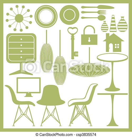 Furniture and home goods icon set  - csp3835574