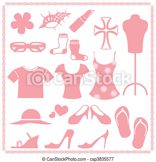 Women\'s fashion icon sets - csp3835577