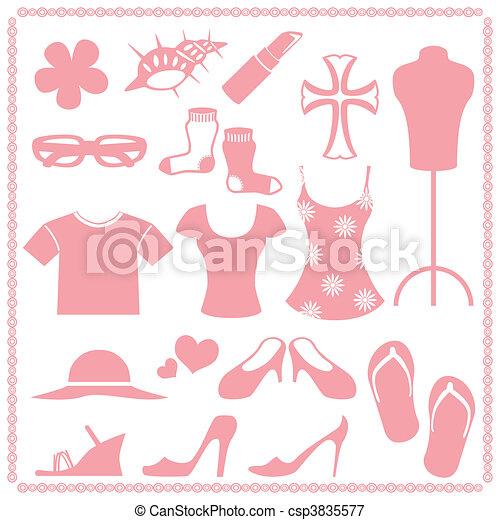 Women\\\'s fashion icon sets  - csp3835577