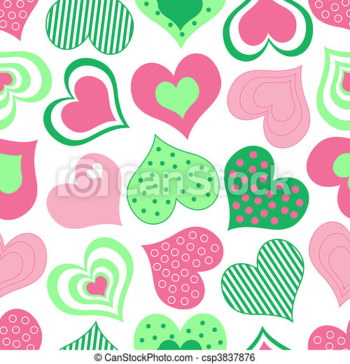 Pink and Green Hearts Pattern - csp3837876