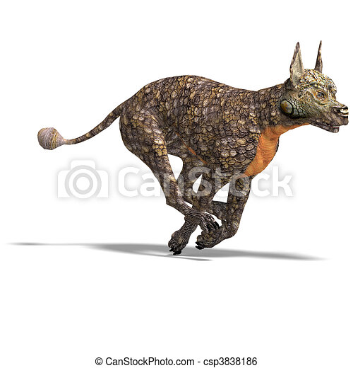 dangerous alien dog with lizard skin. 3D rendering and shadow over white - csp3838186