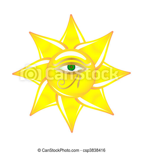 Egyptian eye on the sun glass - csp3838416