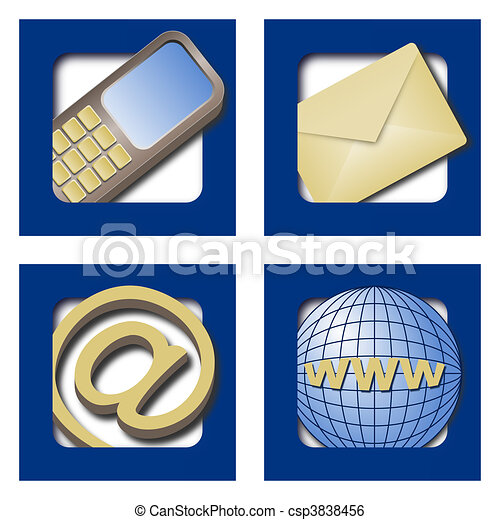 Four web icons for contacts on blue background - csp3838456