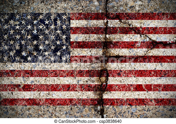 Worn American Flag on Concrete Surface - csp3838640