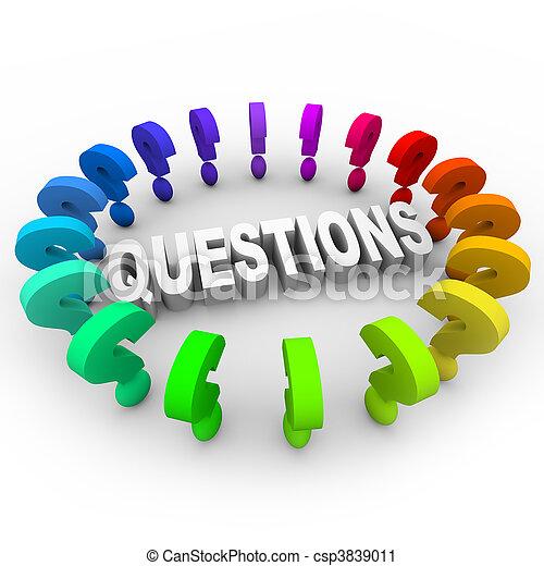 Question Marks Around Word - csp3839011