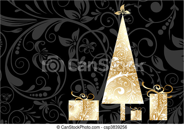 Christmas card with an ornament, vector - csp3839256