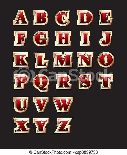 Golden style alphabet - csp3839758