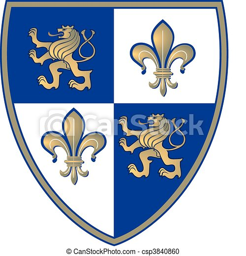 coat of arms, Lion and Lillie - csp3840860