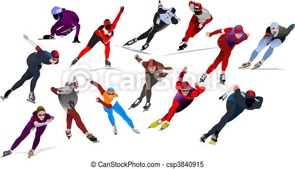 Speed skating. Vector illustration - csp3840915