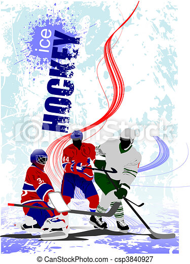 Ice hockey players poster. Colored - csp3840927