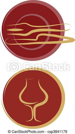 restaurant logos, plate, fork, knife, glass - csp3841179