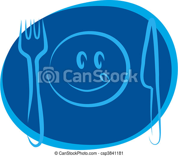 happy smiley face with fork and knife  - csp3841181