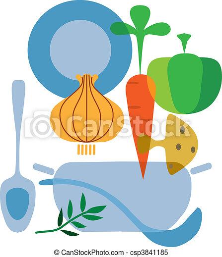 ingredients of tasty vegetables soup - csp3841185